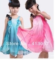 Free shipping , summer Chiffon girls harness dress