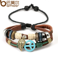 2014 New Arrival Wrap Brown Cow Leather Alloy Bracelet With Braided Leaf Metal Charms Fashion Woven Bracelet PI0282