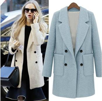 Новое поступление! 2014 осень зима пункт средней длины пальто пыли женский двубортный пальто шерстяное пальто NWT043