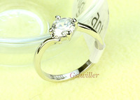 Free Shipping Italina Rigant Jewelry Wholesale18k White gold plated Wedding Ring Austrian Crystal Rings,