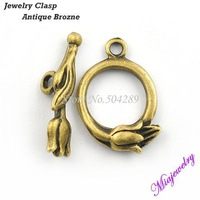 Hot Sell Fashion Metal Clasps 500pcs/lot  Antique Bronze 13*20 MM Flower Pattern Round Alloy Jewelry Findings Clasps