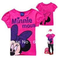 New Arrival 2013 Summer Hot Minnie Mouse Childrens Top Tee Kids Cartoon Short Sleeve T-shirt  Aged 2-8yrs