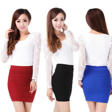 2014 nieuwe dame zomer, lente, hoge taille rok geplooid buste boven de knie vrouwen mode casual korte mini rok hete q001 16 kleuren