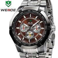 2013 Chronograph Decorated WEIDE Stainless Steel Men Quartz Analog Dive Watch Water Resistance Free Shipping