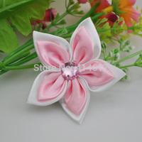 "20pcs Satin, 2 ""the Ribbon Flower of W / Rhinestone-pink Free Shipping"