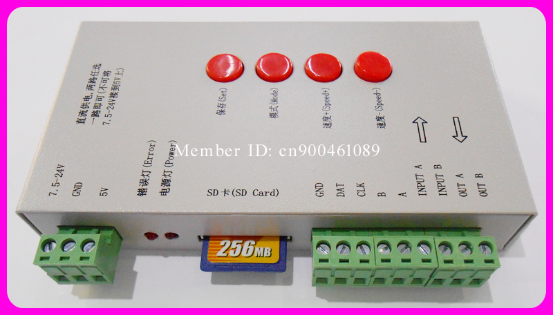 1pcs Free Shipping! DC5-24V DMX512 LED Controller programmable with SD card,Support 66 kinds IC driver,for Pixel RGB led lights(China (Mainland))