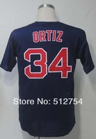 #34 David Ortiz Jersey,Baseball Jersey,Best quality,Embroidery Logos,Authentic Jersey,Size M--3XL,Accpet Mix Order