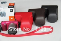 Free Shipping camera case bag cover pouch for Sony NEX-F3 NEXF3 NEX F3 18-55mm lens - Black / Brown / Red