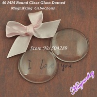 Wholesale Glass Cabochon Cover 200Pcs/lot 40 MM  Round Clear Transparent Circle Domed Magnifying Glass Inserts Pendant Tray