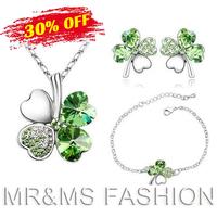 Free Shipping Wholesale 18K Austrian Crystal Clover 4 Leaf Leaves Pendant Necklace Earrings Bracelet Jewelry Set For Women 9554