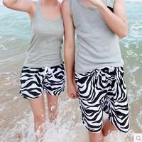 2015 New A Shorts Men Board Shorts Couple Swimwear Summer Swimming Surf Beach Shorts Zebra Print Plus size