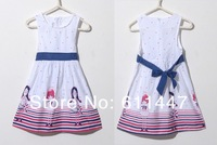 1pcs/lot Girls  2013 100% cotton 2-10 year old baby dress with beach and girl printing free shipping