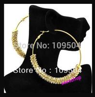Free Shipping Basketball Wives Earrings CZ Rhinestone Crystal Rondelle Hoops Earrings 1Pair