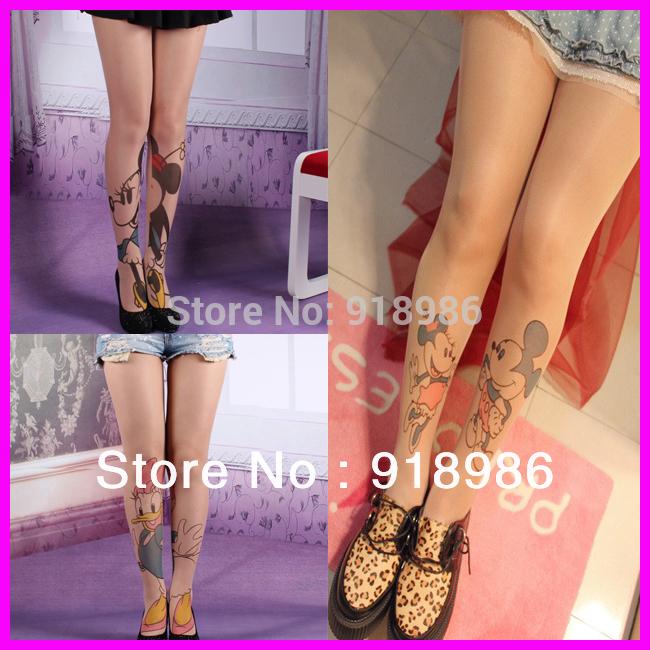 Livraison gratuite 2014 nouvelle mode mickey mouse collants 20 polyestersdenier tatouageimprimé filles. harajuku bas collants femmes