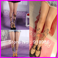 Free Shipping 2014 New Fashion Mickey Mouse Pantyhose 20 Denier Printed Tattoo Women Girls Harajuku Stockings Tights