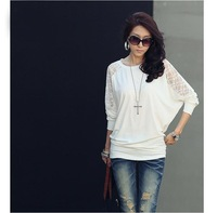 White Beautiful Women Bat sleeve long-sleeved T-shirt