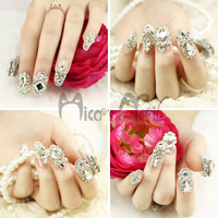 Free shipping New arrival nail art slice false nail patch metal quality bride sclerite finger stickers l1166 fake nail