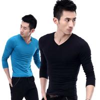 Free shipping  men's clothing black and white basic shirt V-neck tight t-shirt male long-sleeve  clothes