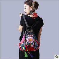 2013 new original folk style double-sided embroidery Bag Handmade flocculus laptop shoulder bag burlap