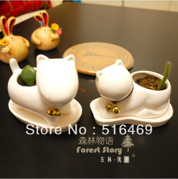 (2 pieces/lot) kitten animal ceramic small flower pot fleshier plant flower decoration planters and pots sending plant seeds.(China (Mainland))
