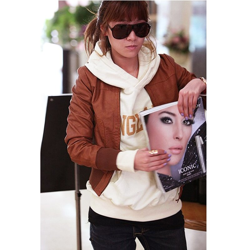 New Women's Stand Collar Long Sleeves Slim PU Leather Biker Jacket Coat Ladies Tops Brown ,Free Shipping Dropshipping Wholesale(China (Mainland))