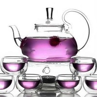 Glass Teapot 600ML,High Temperature Resistant kettel 1+6 Double Wall Glass KungfuCups+Heater+2Candle+Heat insulation Saucer Pad