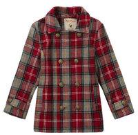 Wholesale 5 pcs Autumn winter Blue red Plaid Children Child Boy Kids fleece woolen long sleeve Coat jacket outwear top PEDS08P05