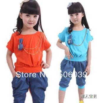 free shipping Children's clothing female child summer 2013 summer sports set short-sleeve harem pants