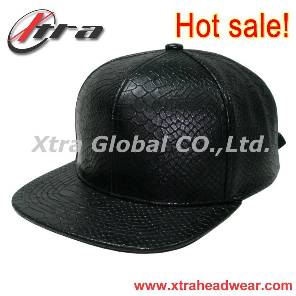 Best Quality Snakeskin Leather Strapback Baseball Cap Fashion Streetwear Snapback Cap and Hat Blank And Plain Cap Customized Cap(China (Mainland))
