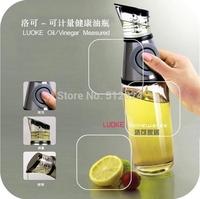 500ml Glass Oil & Vinegar Dispenser Measurable Pressing Button Olive Oil Bottles Kitchen Tools 8*8*28.5cm Free Shipping