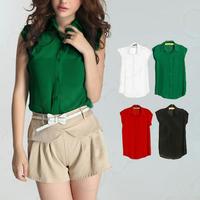 2013 NEW Chiffon Women's Blouse Loosen Candy Color OL Sleeveless T Shirt E0829#M4