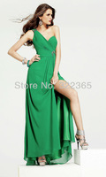 Free Shipping 2013 Hot Sale A-line One Shoulder Chiffon Ruching and Beading Floor-length Evening Dresses zh017