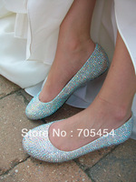 BS412 free shipping flat AB crystal evening shoes bridal wedding shoes