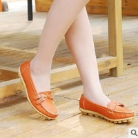 Genuine Orange leather nurse shoes mother shoes work shoes cow muscle outsole flat bottom flat heel round toe shoes comfortable