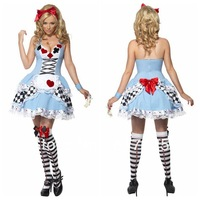 sexy 5 size Poker maid dress performance  Halloween fairy costume Miss Wonderland Costume Checkered Alice Costume free shipping