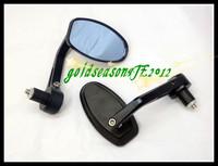"Freeshipping 1 Pair Bar End Black Rear Side Mirror  w/ 7/8"" Black Pair for  Kawasaki  KTM"