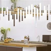 Min order 15 usd ( Mix items)2014 New 100pcs 2x2cm Fashion Silver 3D Wall Sticker Mosaic Mirror Sofa Living Room Decoration