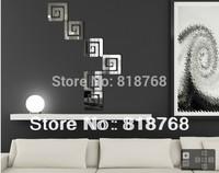 Min order 15 usd ( Mix items) Spiral square wall stickers 6PCS Affirmative spiral
