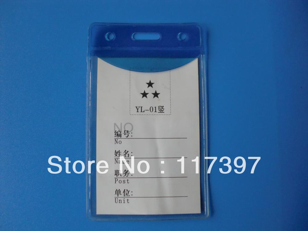 Free shipping Wholesale Vertical PVC NAME TAG ID badge holder blue color 50 pcs/lot(China (Mainland))