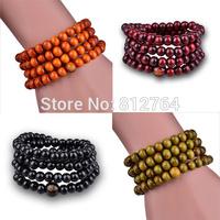 Wholesale Cheap Charming Fashion Wooden Jewelry 108*8mm Imitated Sandalwood Beads Bracelets Buddha Rosary Prayer Malas 3 Colors