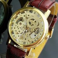 Male watch manual chain cutout mechanical watch vintage casual strap watch male machinery