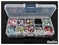 mixed rhinestone10000pcs 3mm flat back acrylic Nail Art rhinestone 1000pcs/color Giving 10 case Rhinestone Storage Case Box