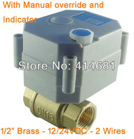 Water Heating Motorized Valve DN15 1/2'' Brass valve 12V/24VDC available 2 wires for water control systems