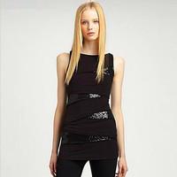Sexy Tight Top/ Irregular Patchwork Sleeveless T-shirt/ Ladies' Night Club Wear/ Club Wear Tops/ Chic Design Tee
