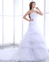 Sweetheart  oganza  chaple  train a-line  weeding  dress  2013