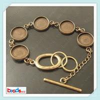 Free Shipping, Bracelet Setting ,Brass,anti-brass, Adjustment chain,inside diameter :16mm,Handmade platingID12145