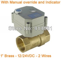 1''  actuator ball valve 2 wires BSP/NPT 12/24VDC control with manual override for air conditional