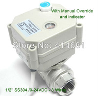 1/2'' DC9-24V SS304 Motorised Valve, 3 wires 2 way electric water valve  with indicator and manual override