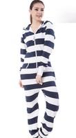 Hight Quality! Blue & White Striple Jumpsuit  / Adult Fleece Hoodies / Oversize / Unisex Style romper women