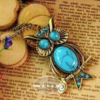 2014 vintage turquoise owl necklace female